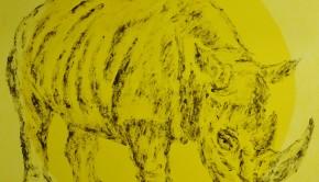 Rinoceronte 1(1), una pintura de Marcelo Aguirre